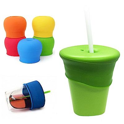 韓國UYOU 防溢漏矽膠吸管用杯套組- 青蘋綠