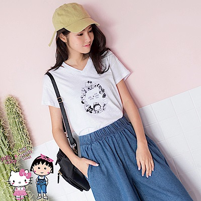 KITTYx小丸子~台灣製造印圖露肩短袖高含棉上衣-OB嚴選