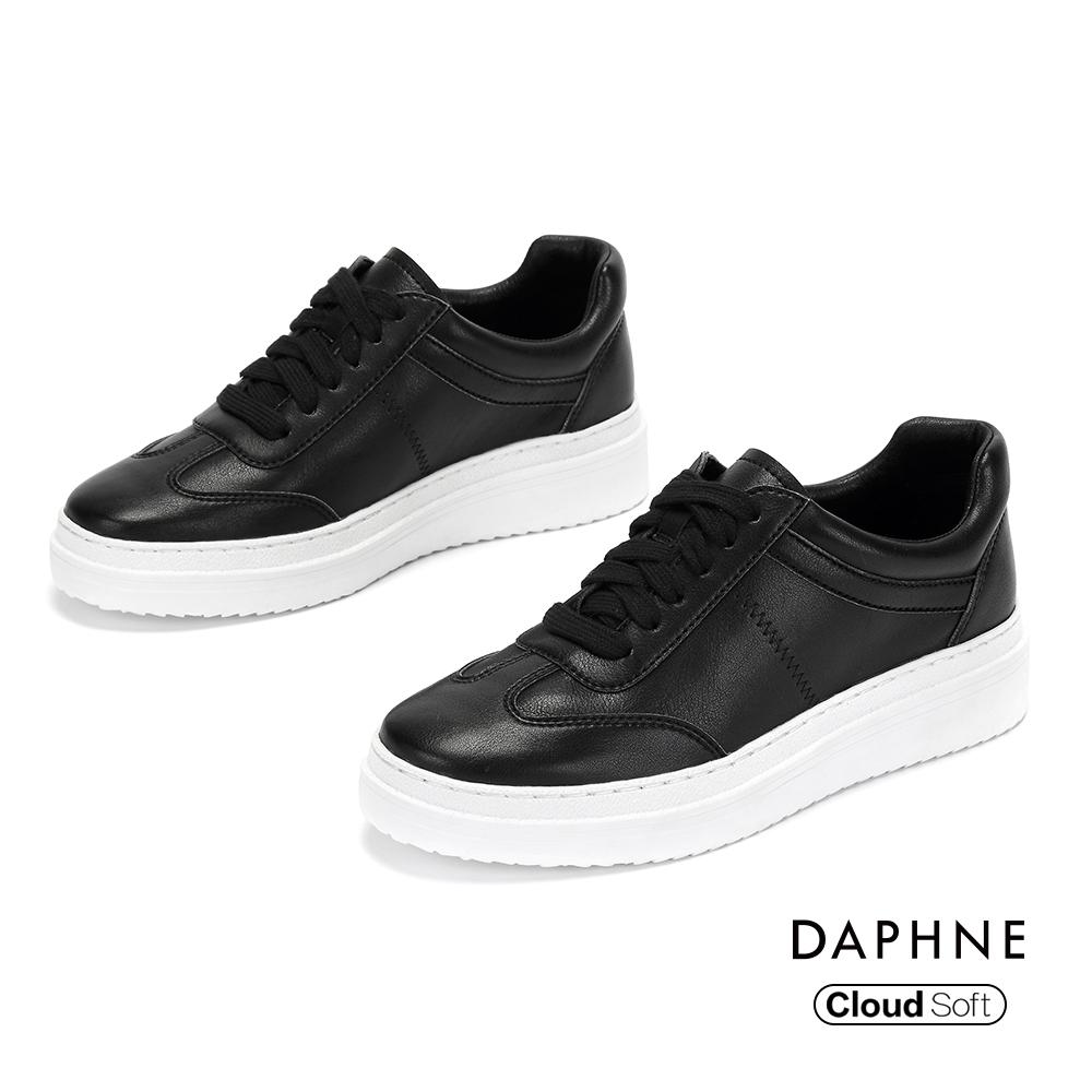 達芙妮DAPHNE 休閒鞋-潮流綁帶雲軟厚底休閒鞋-黑色