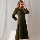 AIR SPACE LADY 典雅後排釦長袖寬鬆洋裝(綠)