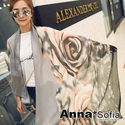 【2件450】AnnaSofia 暈染灑點玫瑰 拷克邊韓國棉圍巾披肩(黑灰粉系)