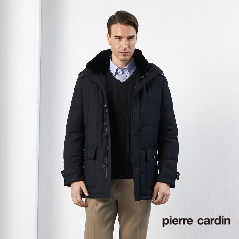 Pierre Cardin皮爾卡登 男裝 進口素材掛帽毛領羽絨長版外套-黑色(5135734-99)