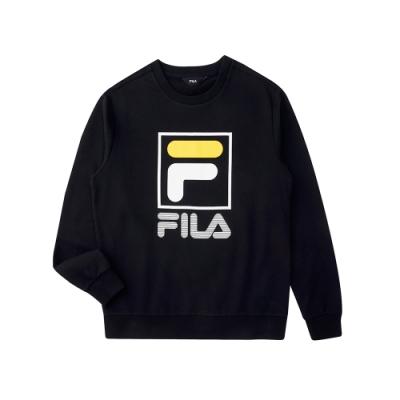 FILA KIDS 長袖圓領上衣-黑色 1TEU-8903-BK