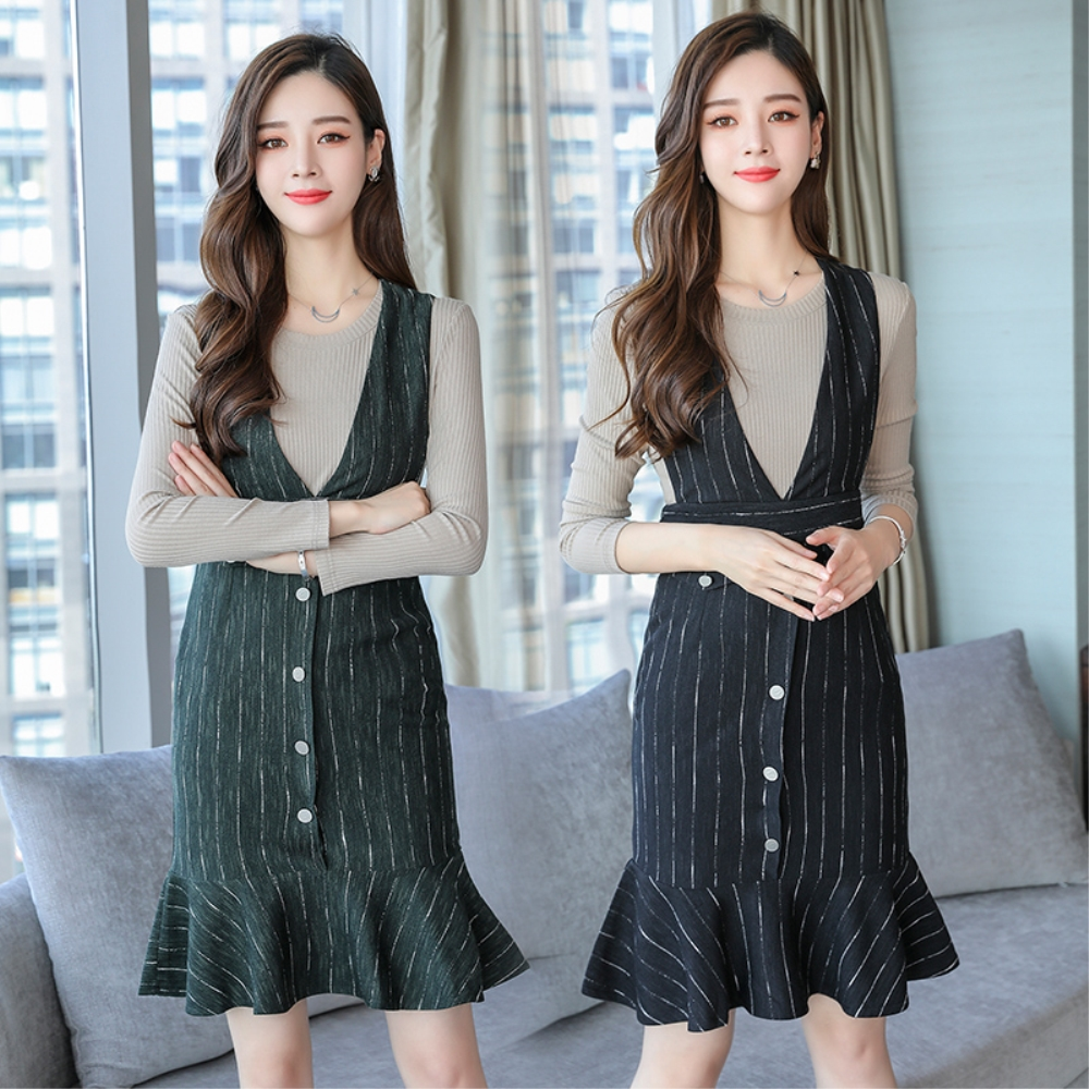 DABI 韓國風時尚顯瘦小香風時髦氣質魚尾裙套裝長袖裙裝