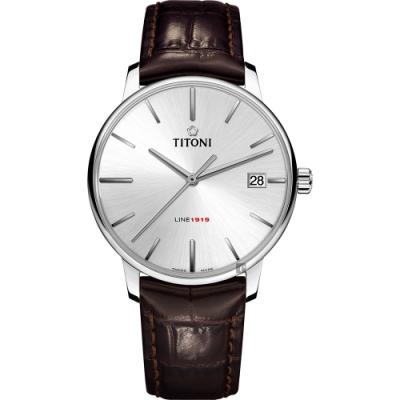 TITONI 梅花錶 LINE1919 百年紀念 T10 機械錶-銀x咖啡色錶帶/40mm