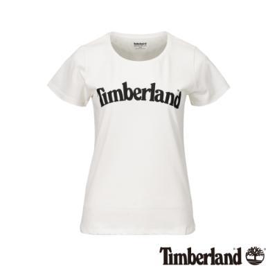 Timberland 女款白色經典Logo有機棉短袖T恤|B4510