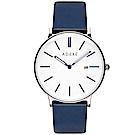 ADEXE 英國時尚手錶 Meek日期顯示系列 白錶盤x銀錶框皮革錶帶40.5mm