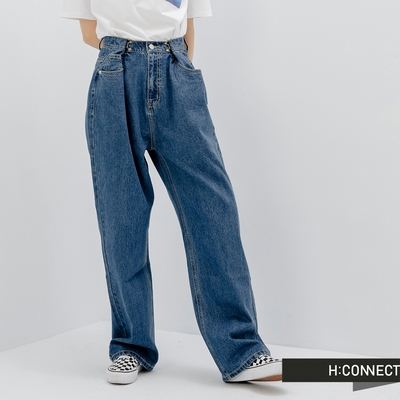 H:CONNECT 韓國品牌 女裝 -自然水洗寬版及地牛仔褲