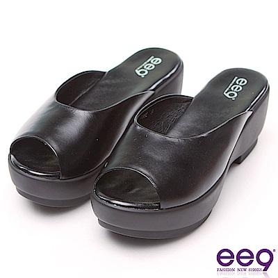 ee9 經典素面百搭魚口露趾楔型跟拖鞋 黑色