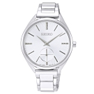 SEIKO 精工菱格簡約小秒盤時尚手錶SRKZ53P1-銀/32mm