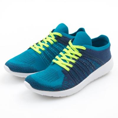 G.Ms. MIT極輕量系列-綿線織布綁帶記憶鞋墊運動休閒鞋-藍色