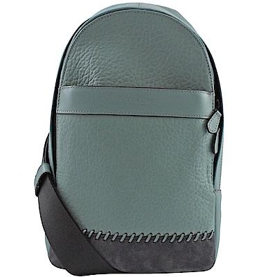 COACH烙印LOGO牛皮單肩後背包(藍綠)