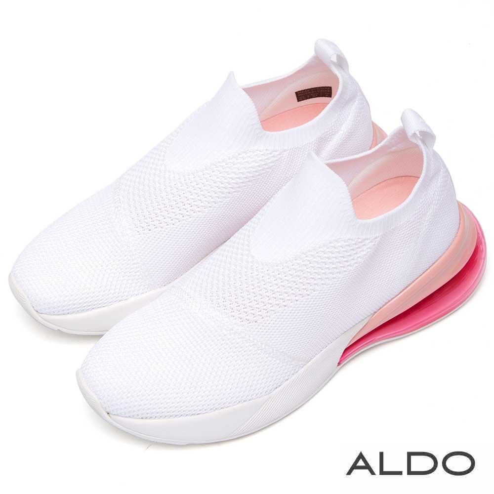 ALDO 原色舒適網布果凍氣墊厚底休閒鞋~清爽白色