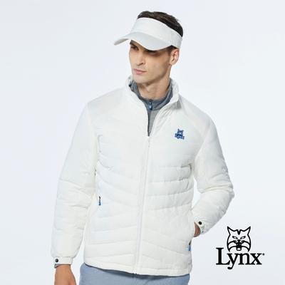 【Lynx Golf】男款吸濕排汗科技羽絨異材質剪裁設計長袖外套-灰藍色