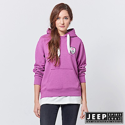 JEEP 女裝 美式休閒假兩件式長袖帽TEE -紫紅色
