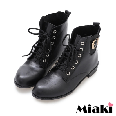 Miaki-短靴復古綁帶彈性低跟踝靴-黑
