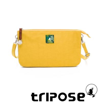 tripose漫遊系列岩紋x微皺尼龍斜背皮夾包 黃色