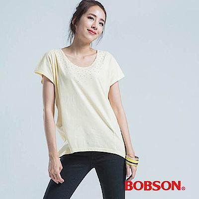BOBSON 半透橫條寬版上衣-黃色