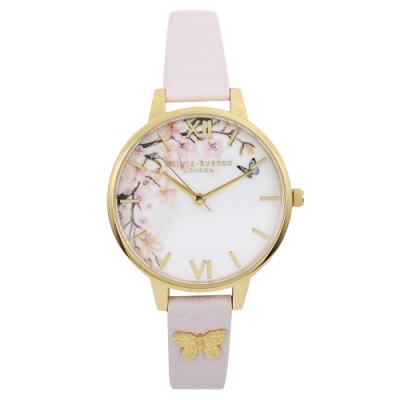 Olivia Burton 英倫復古手錶 花園水彩3D蝴蝶 淡粉色真皮錶帶金框34mm