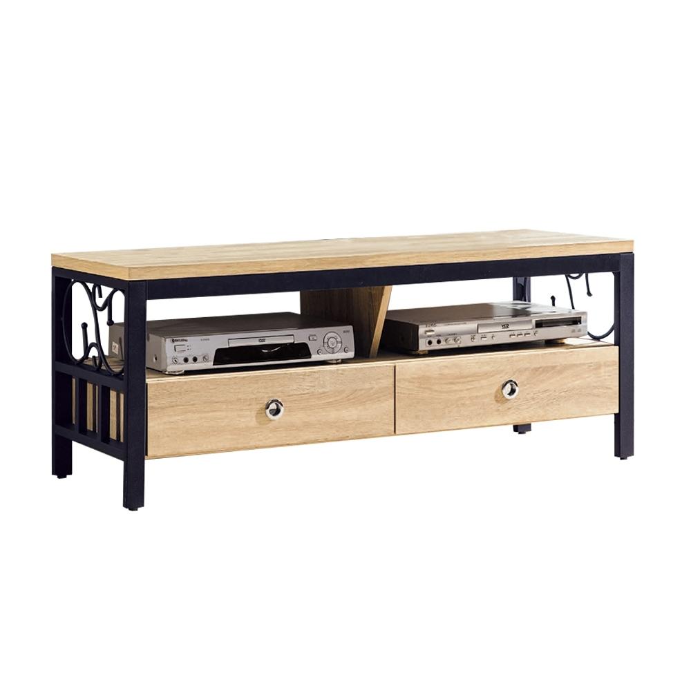 柏蒂家居-肖恩工業風4尺二抽電視長櫃/視聽櫃-121x40x48cm