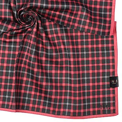 DAKS 經典方格紋純綿帕領巾-玫紅色