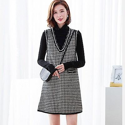初色  千鳥格紋兩件式高領背心洋裝-黑色-(M-2XL可選)
