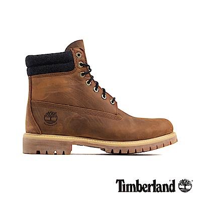 Timberland 男款中咖啡色防水皮革六吋靴|A1QZJ