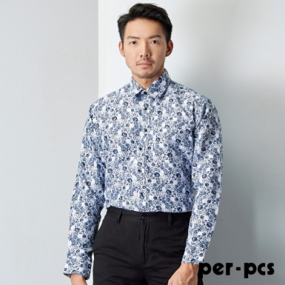 per-pcs 時尚型男長袖襯衫_白提花紋(719463)