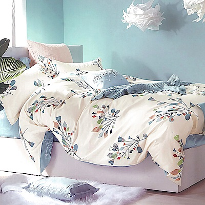 LAMINA 彩羽-藍 精梳棉四件式兩用被套床包組(雙人)