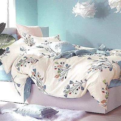 LAMINA 彩羽-藍 精梳棉四件式兩用被套床包組(加大)