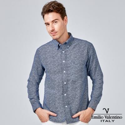 Emilio Valentino 范倫提諾印花長袖襯衫-藍