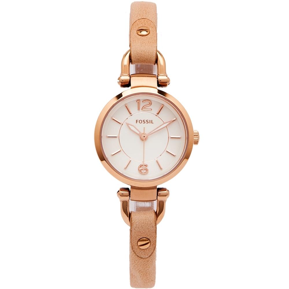FOSSIL 都會佳人款皮革女性手錶(ES3745)-銀面X粉橘色/26mm