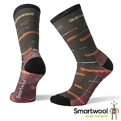 SmartWool 女 輕量減震徒步PRINT中長襪 炭黑色
