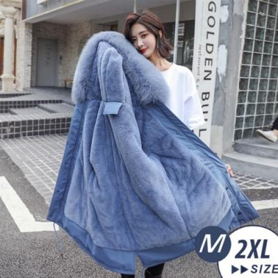 【LANNI 藍尼】大毛領舖絨收腰中長版羽絨棉連帽外套(M-2XL)