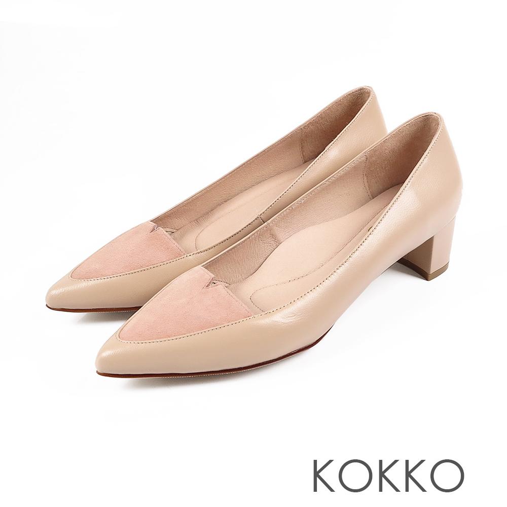 KOKKO-日本同步異材尖頭小V真皮粗跟-膚