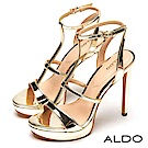 ALDO 原色女神T字繫帶鏤空金屬釦帶繫踝高跟涼鞋~名媛金色
