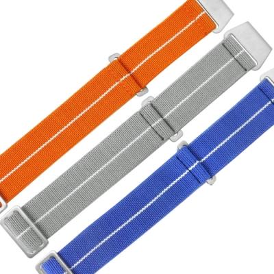 Watchband 各品牌通用 輕便柔軟 不鏽鋼扣頭 彈性尼龍錶帶-橘/灰/藍