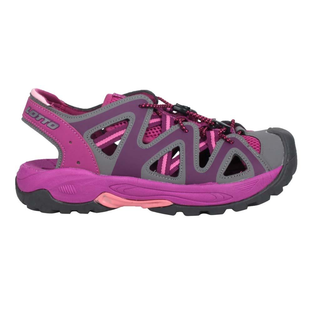 LOTTO 女排水護趾涼鞋-休閒 健走鞋 水陸鞋 反光 海邊 戲水 LT1AWS3257 灰紫