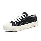 韓國KW美鞋館 簡約經典綁帶厚底帆布鞋-黑