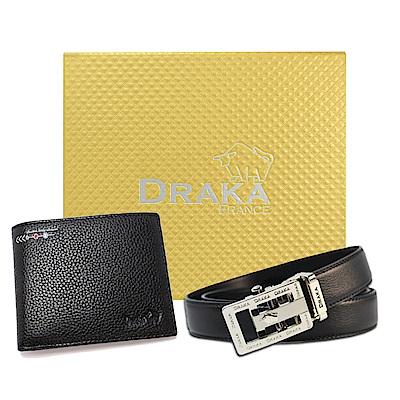 DRAKA 達卡 - 黃金禮盒 真皮皮夾+自動皮帶-6012