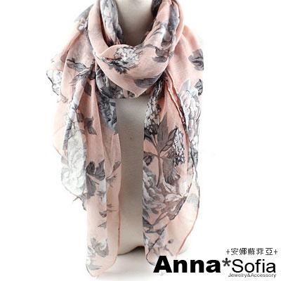 AnnaSofia 玫瑰花蔓 巴黎紗披肩圍巾(粉灰系)
