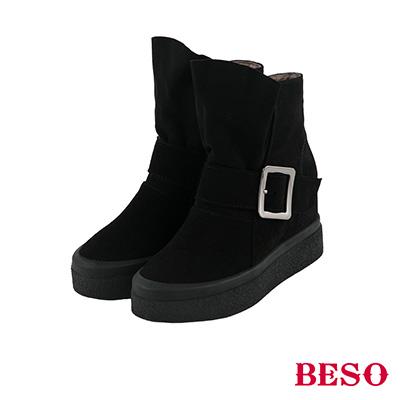BESO 率性造型 全真皮垂墜式厚底短靴~黑