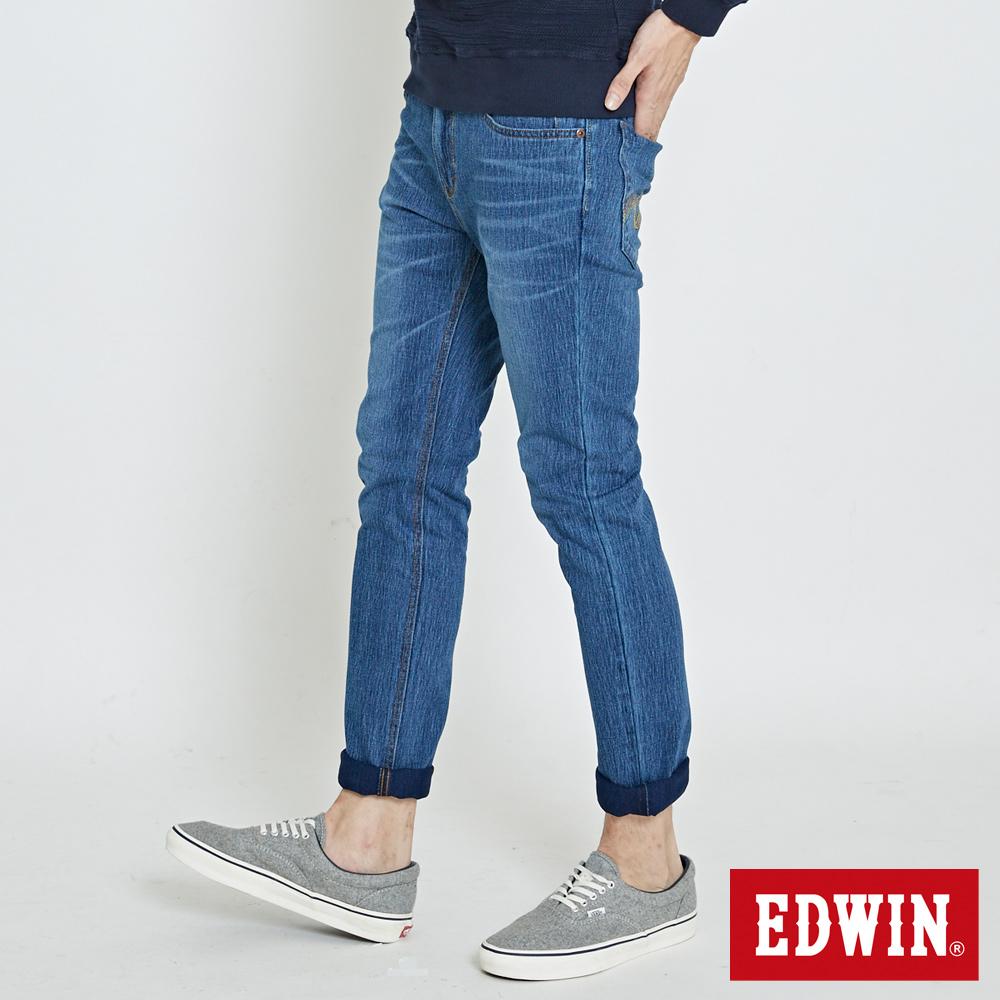 EDWIN 大尺碼迦績褲JERSEYS復古棉感窄直筒褲-男-拔洗藍