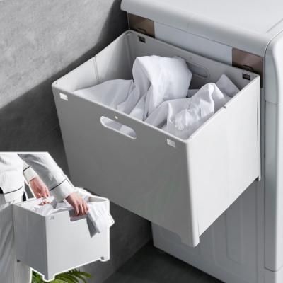 EZlife無痕可掛式摺疊髒衣收納籃(2入組)贈調光造型燈