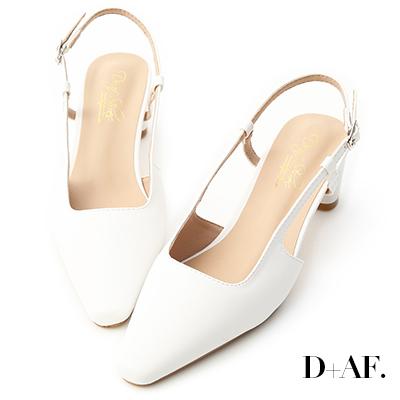 D+AF 魅力典雅.尖頭細帶後空中跟鞋*白