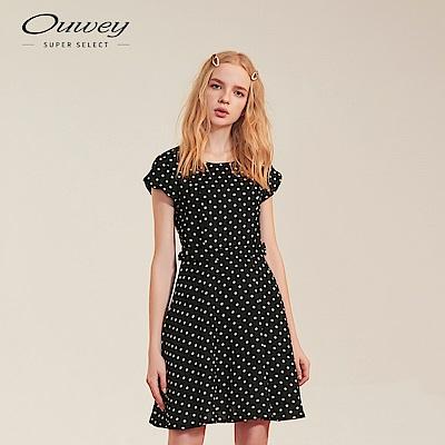 OUWEY歐薇 圓點傘襬雪紡洋裝(黑)