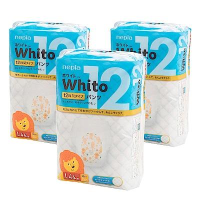 Nepia Whito王子白色系列褲型紙尿褲 日本境內十二小時版 L 44片x3包/箱