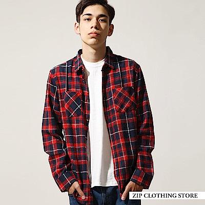 法蘭絨長袖格紋襯衫(18色) ZIP日本男裝