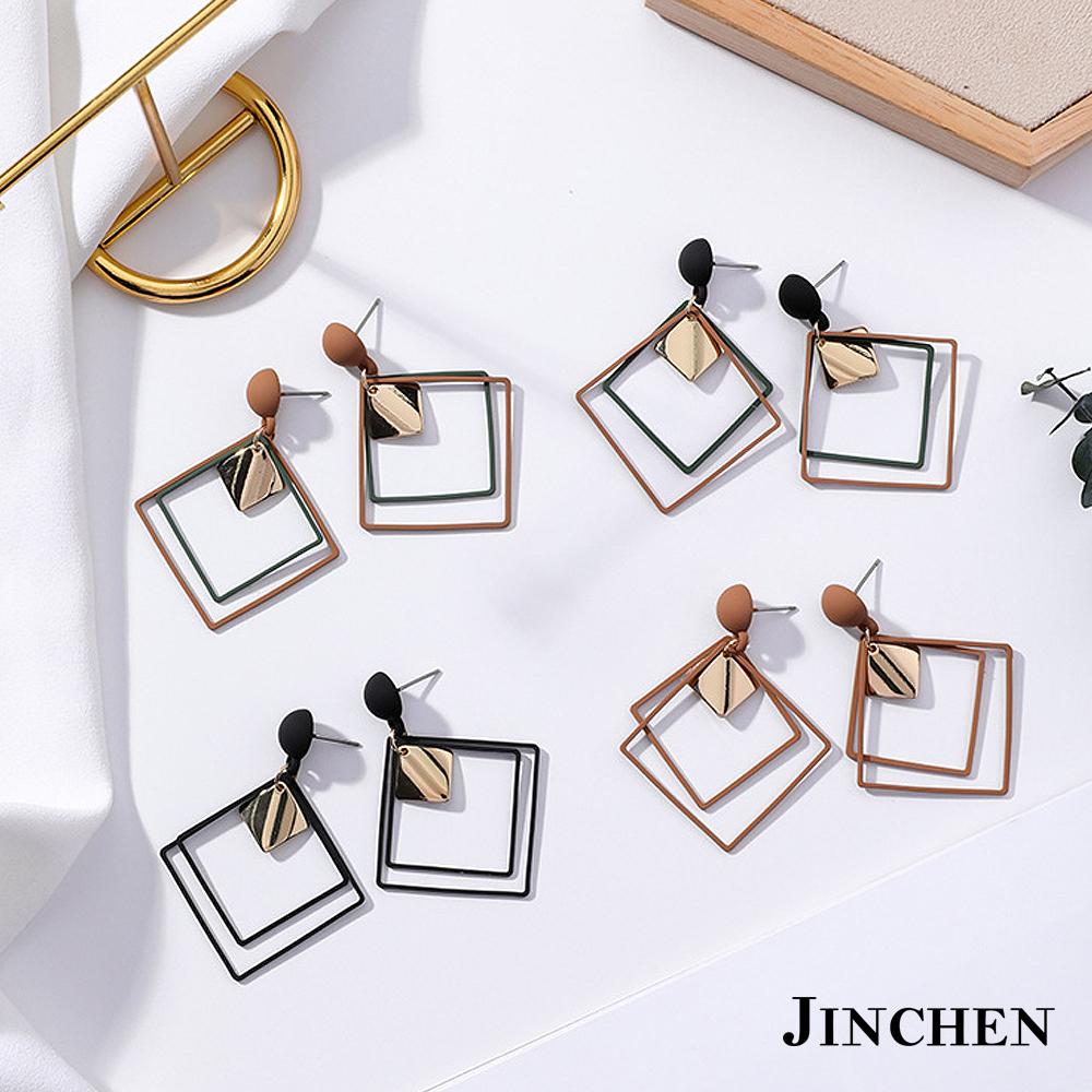 JINCHEN 合金方形耳環