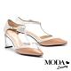 高跟鞋 MODA Luxury 摩登雙色T字帶羊皮小方頭高跟鞋-杏 product thumbnail 1